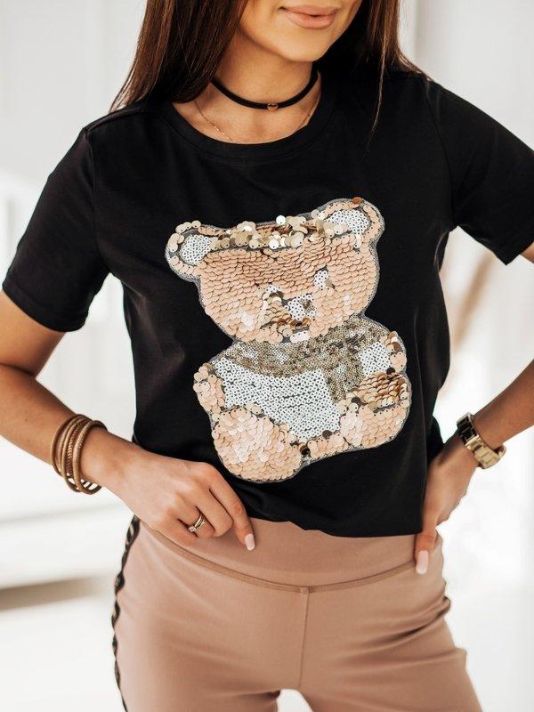 T-shirt Sequin Teddy Czarny