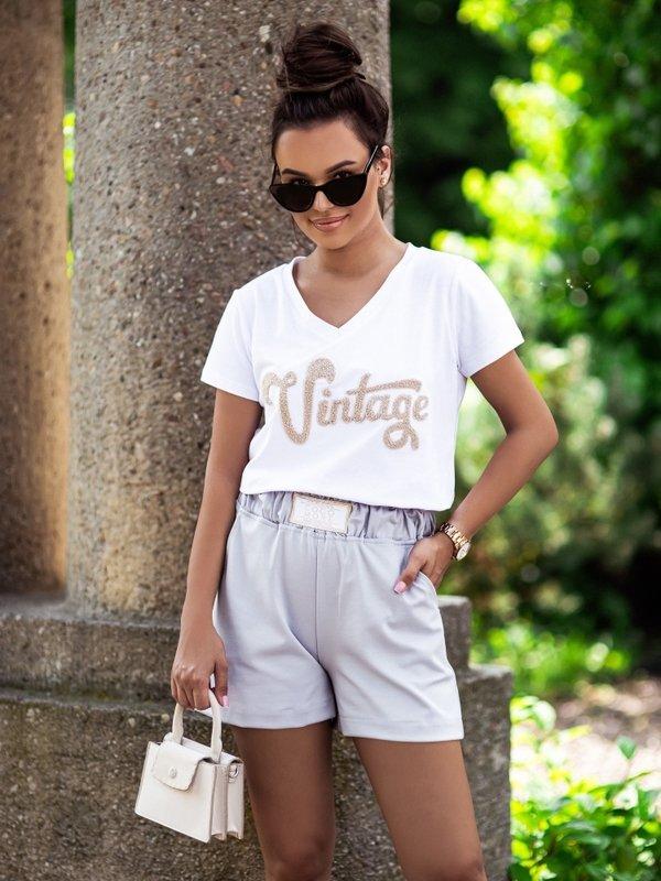 T-shirt Vintage V-neck Biały
