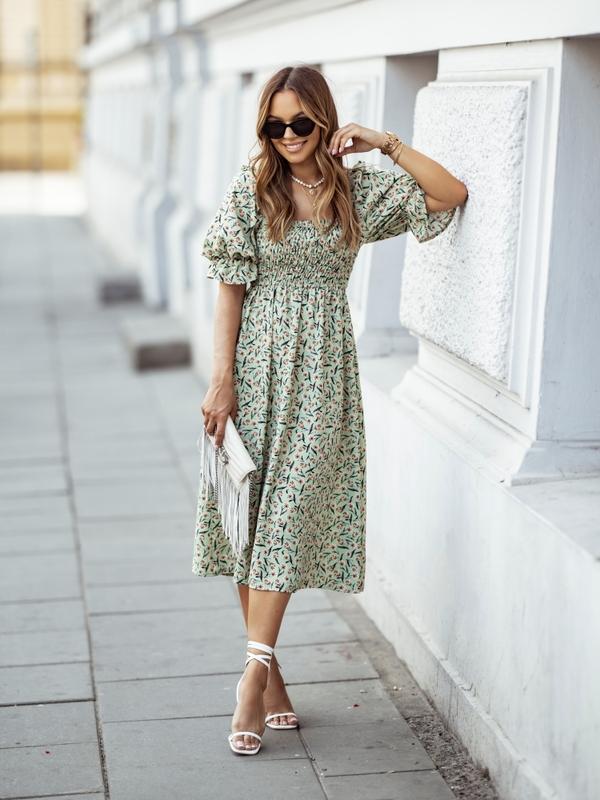 Sukienka Shannon Flower Miętowa