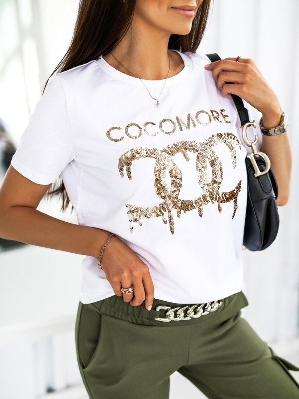 T-shirt Sequin Gold Biały