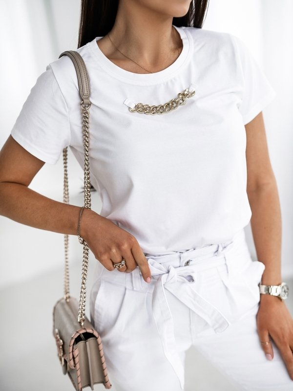 T-shirt Chain Biały
