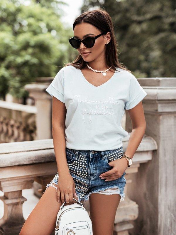 T-shirt Mademoiselle V-neck Błękitny