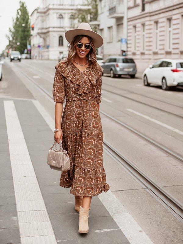 Sukienka Borgia Boho Karmelowa