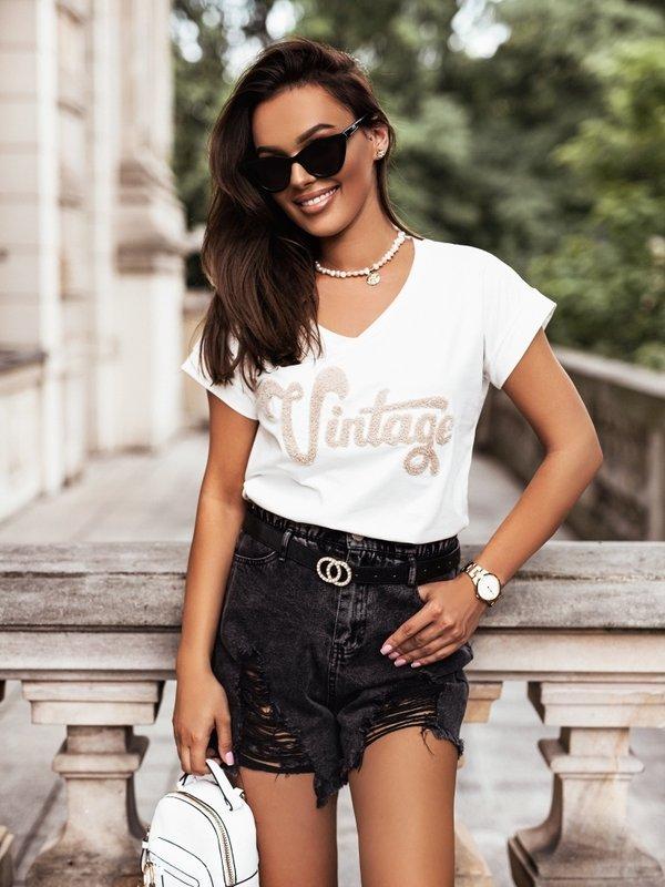T-shirt Vintage V-neck Kremowy