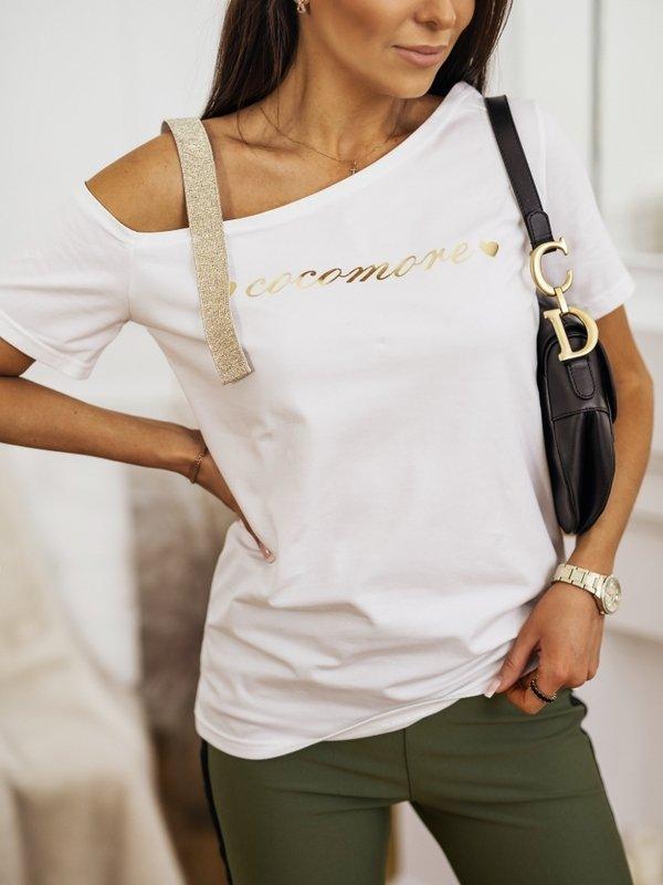 T-shirt Coco Heart Gold Biały