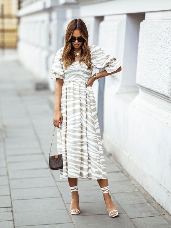 Sukienka Shannon Zebra Beżowa