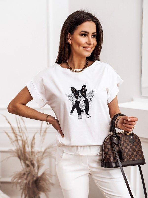T-shirt Buldog Wings Biały