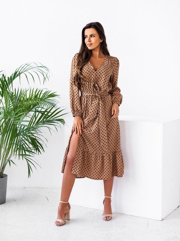 Sukienka Jerome Mini Dots Karmelowa