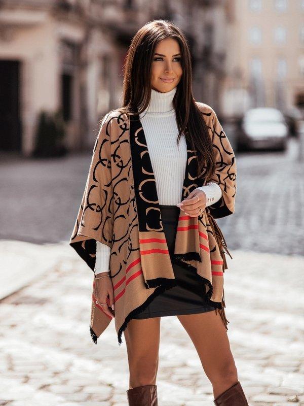 Sweter Ponczo Karmelowy