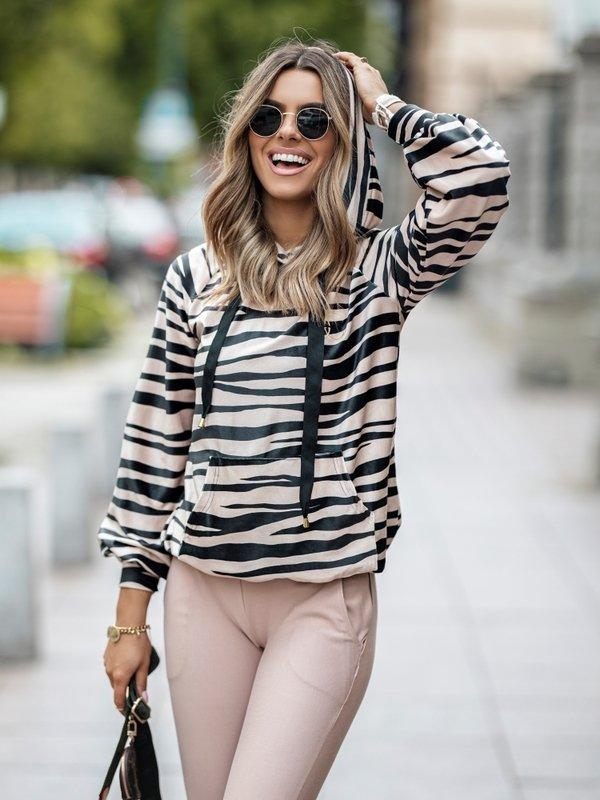 Bluza Welur Zebra Karmelowa