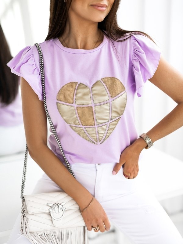 T-shirt Gold Heart Fioletowy