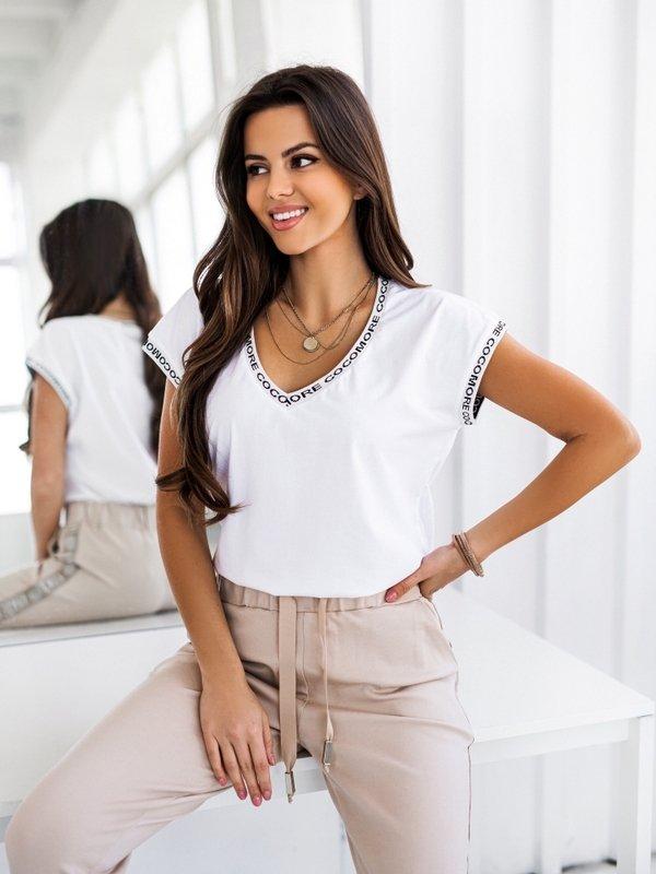 T-shirt V Coco Simple Biały