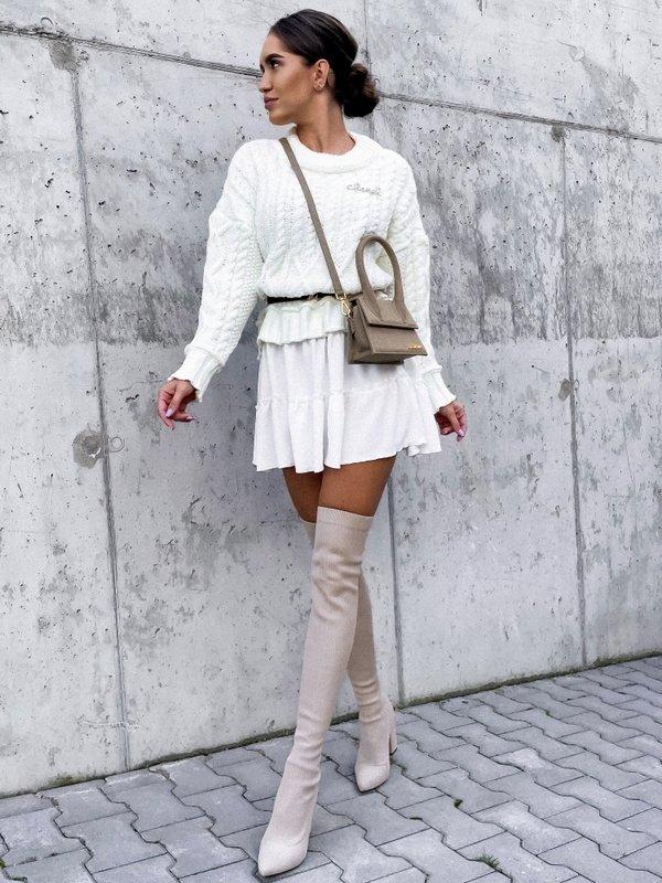 Sukienka Ammos White Kremowa