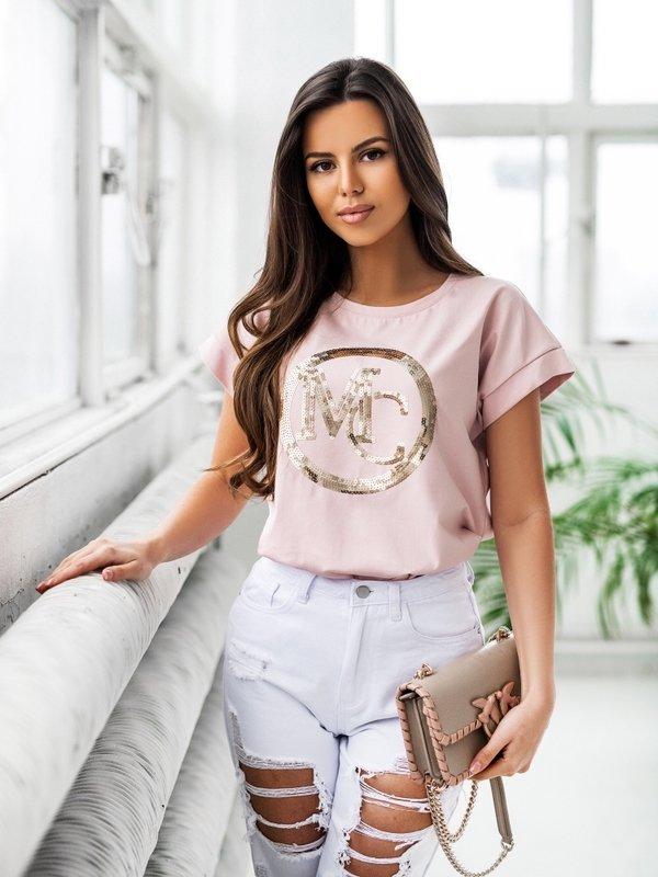 T-shirt MC Sequin Różowy