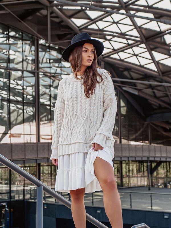 Sukienka Ammos White Beżowa