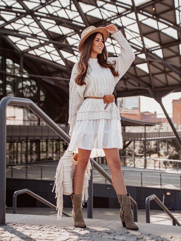 Sukienka Airi White Beżowa