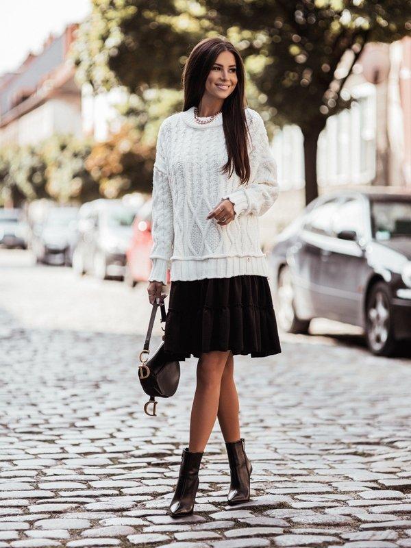 Sukienka Ammos Black Kremowa