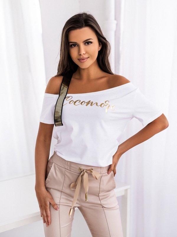 T-shirt Gold Stripe New Biały