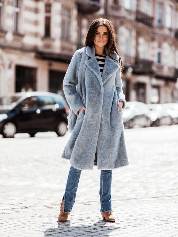 Płaszcz Keiko Błękitny + Torebka