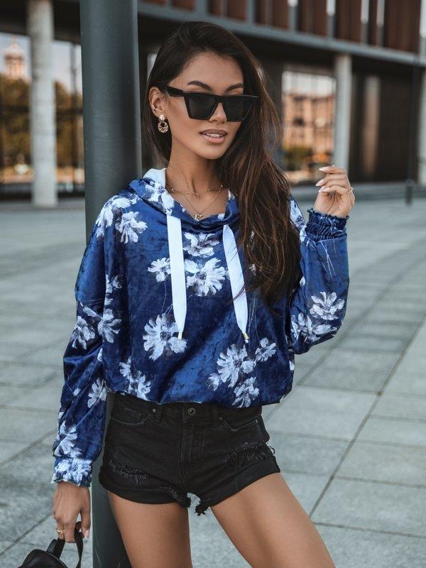 Bluza Leni Flower Niebieska