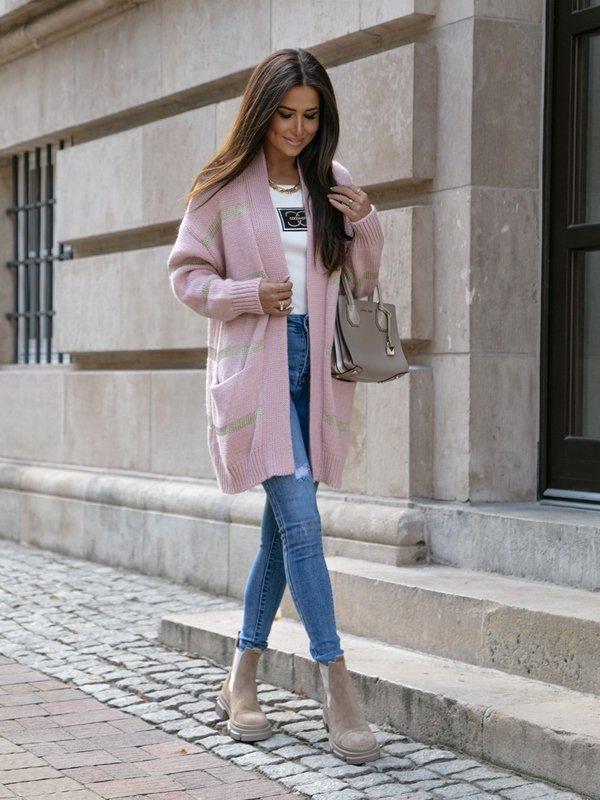 Sweter Caroline Pudrowy