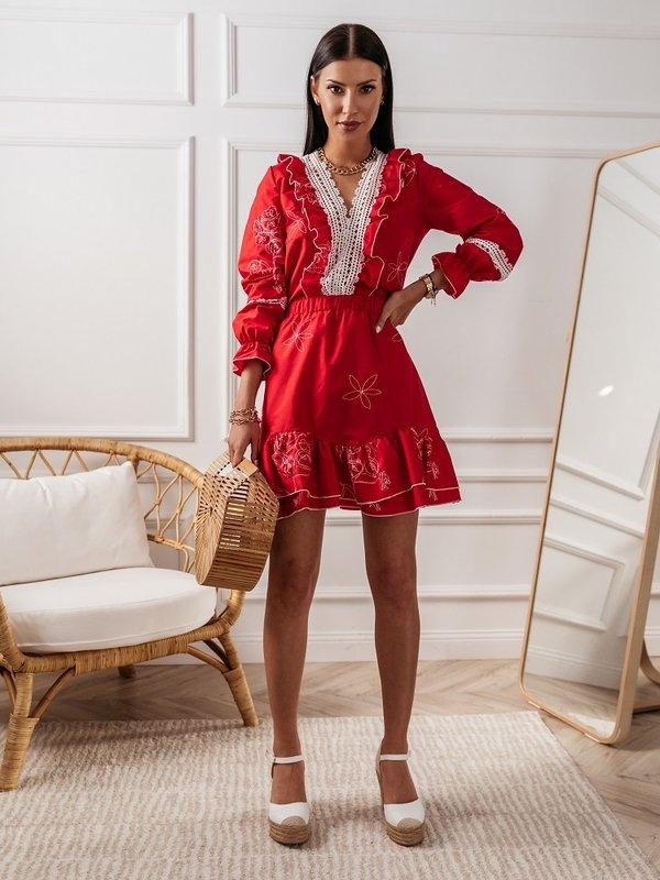 Spódnica Peonie Czerwona