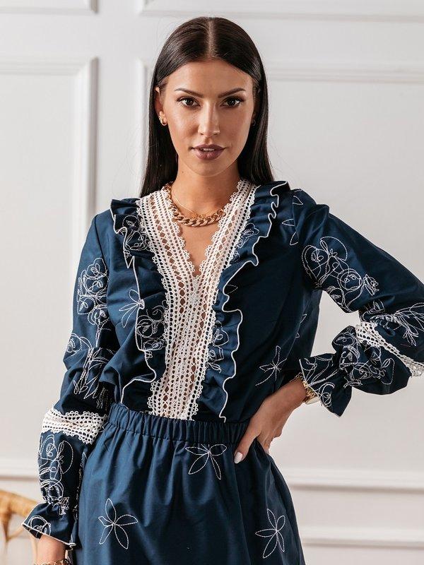 Bluzka Peonie Granatowa