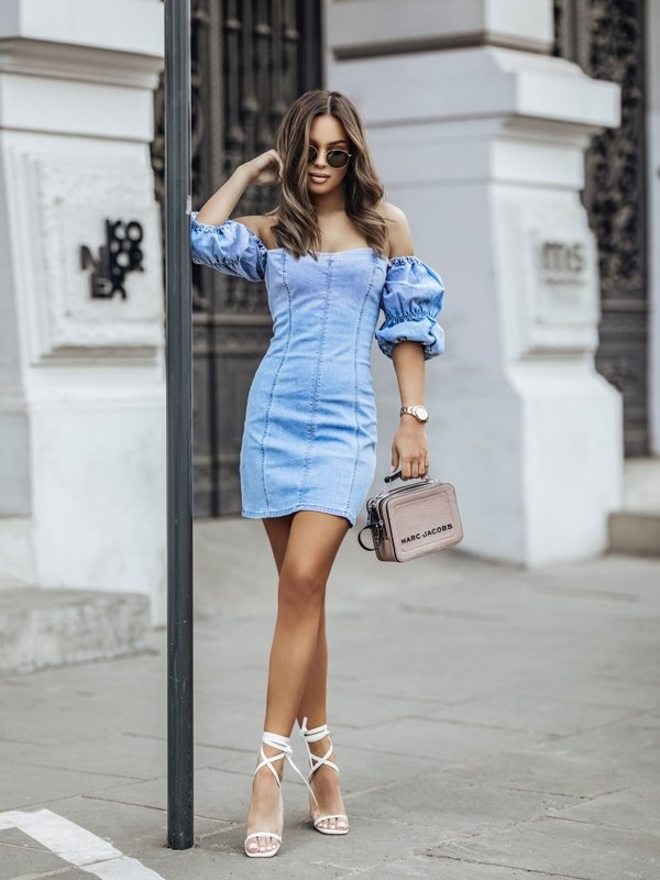 Sukienka Nora Jeans Niebieska