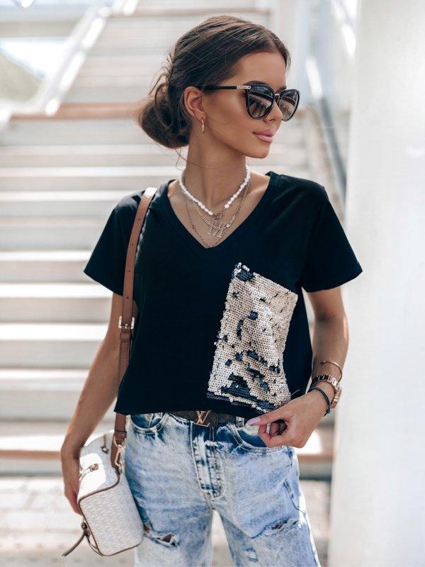 T-shirt Sequin New Czarny