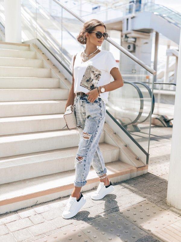 T-shirt Sequin New Biały