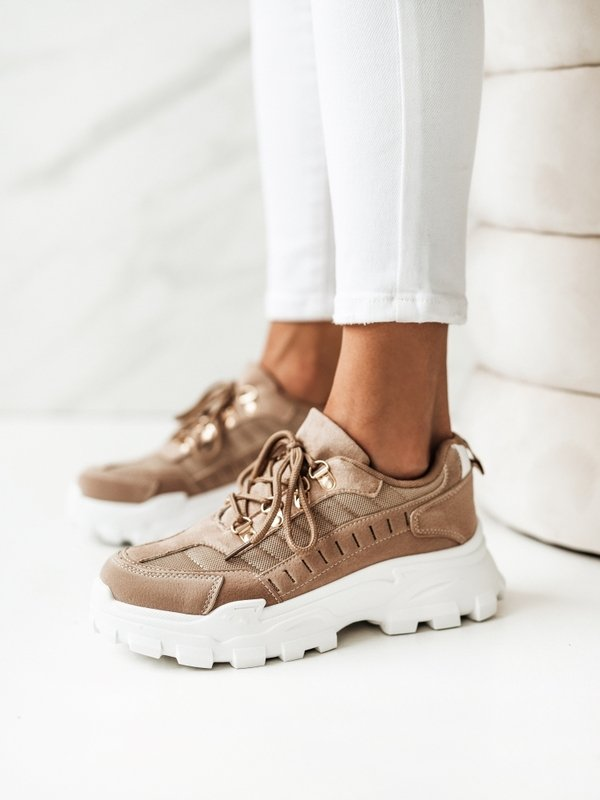 Sneakersy Megan Karmelowe
