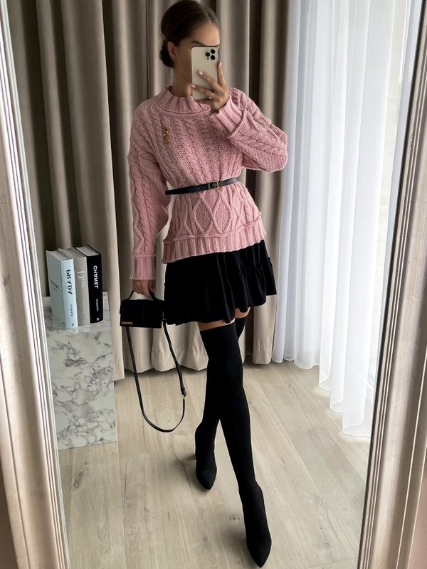 Sukienka Airi Black Pudrowa