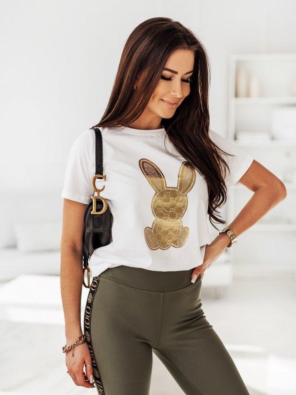 T-shirt Rabbit Gold Biały