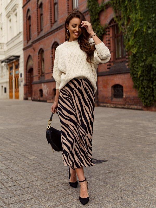 Spódnica Zebra Pudrowa