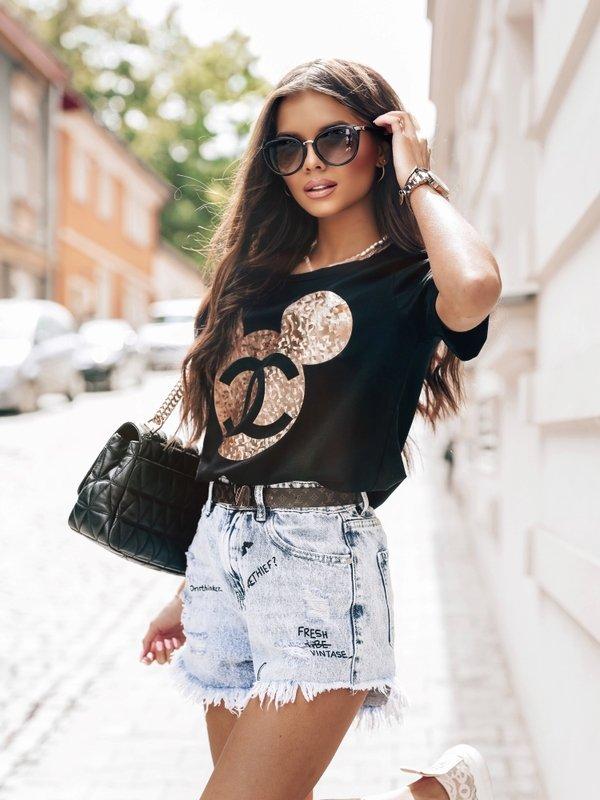 T-shirt Mouse Gold Czarny