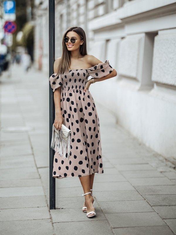 Sukienka Meryl New Dots Beżowa