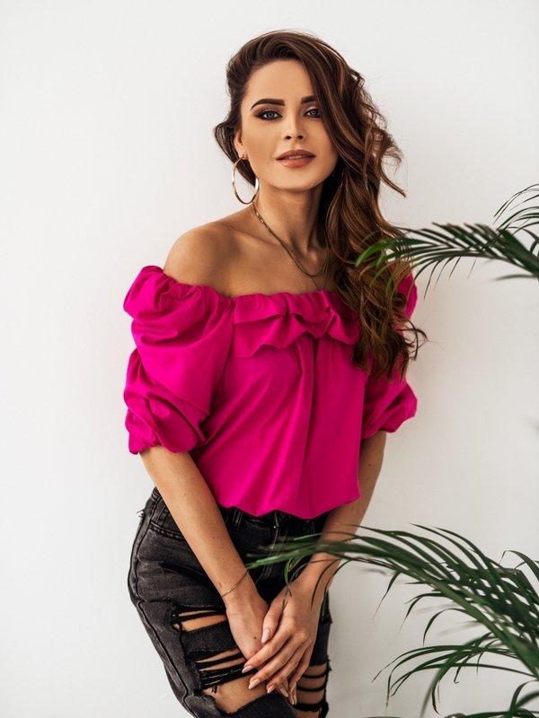 Bluzka Mexico Amarantowa