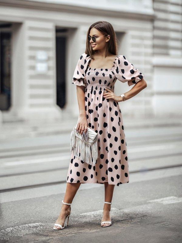 Sukienka Meryl New Dots Pudrowa