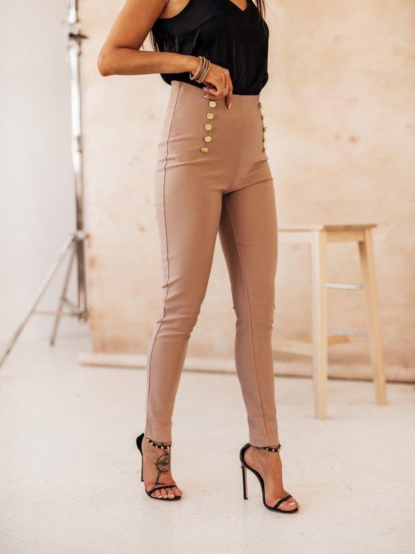 Spodnie High Button Pudrowe