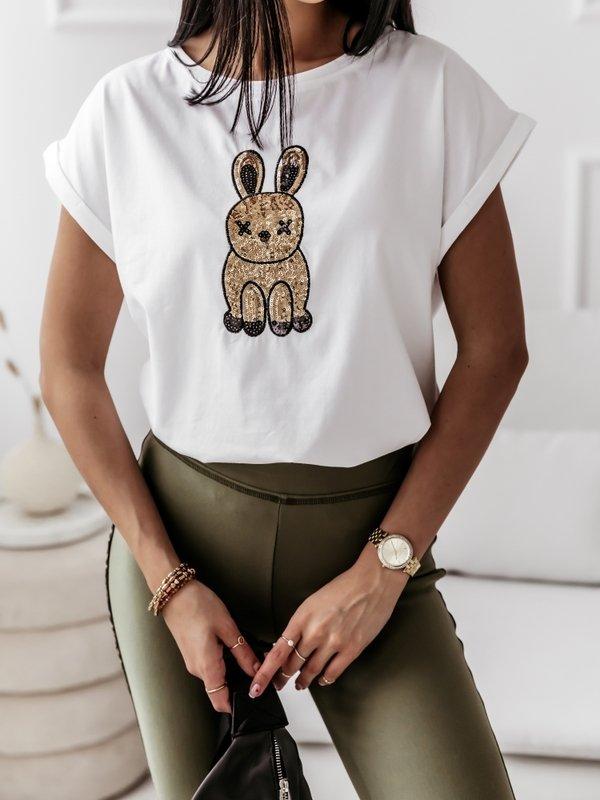 T-shirt Rabbit Sequin Biały