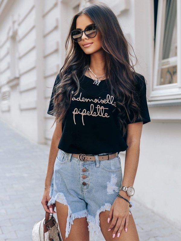 T-shirt Mademoiselle Czarny