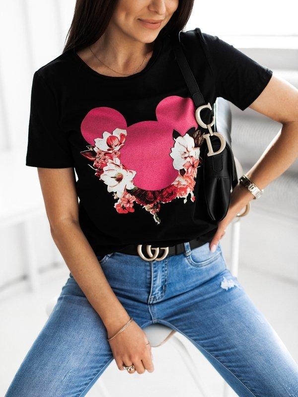 T-shirt Minnie Flower Czarny