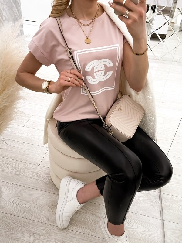 T-shirt Coco CC Pudrowy