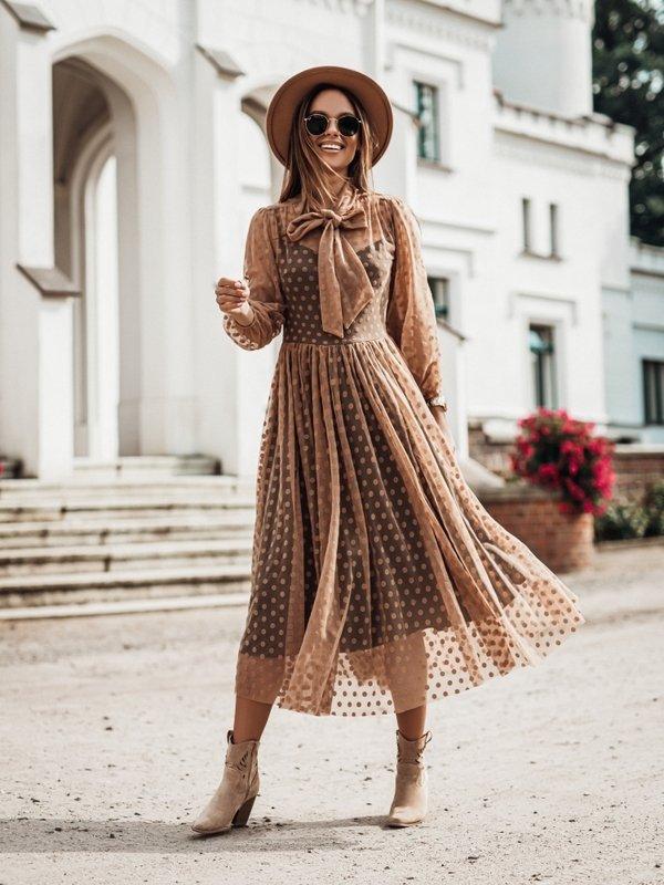 Sukienka Semi Karmelowa