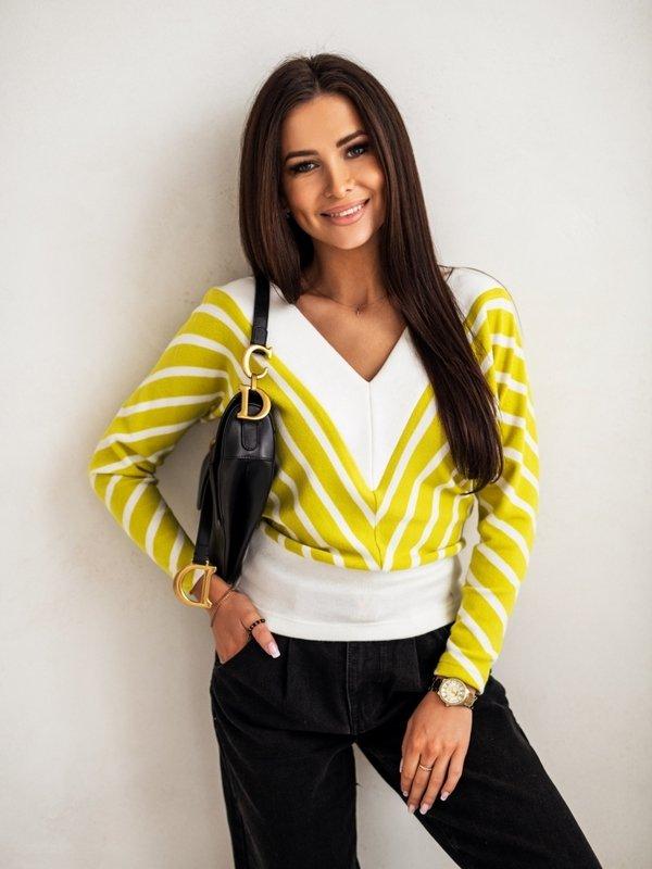 Bluzka V-Stripe Limonkowa