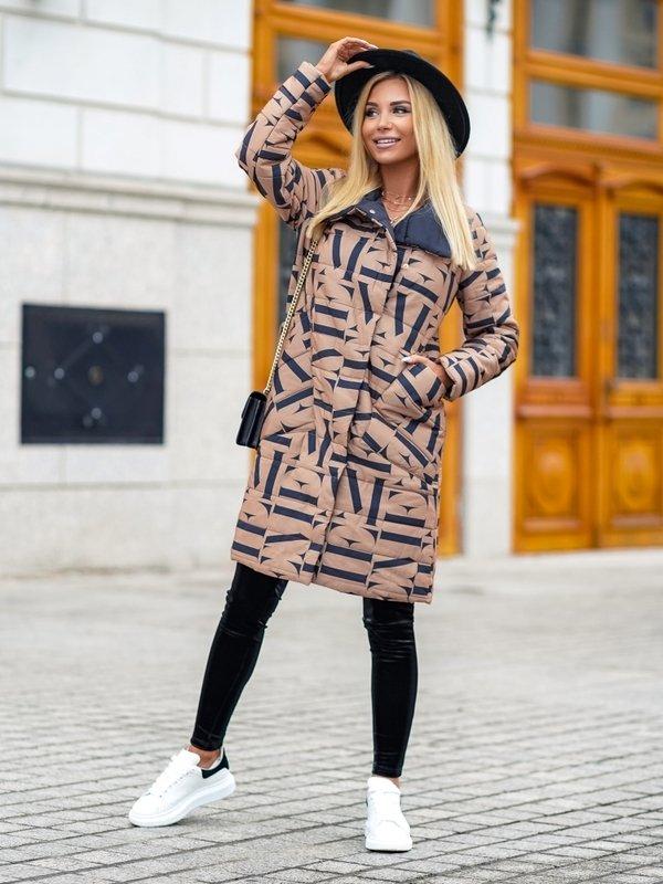 Kurtka Letter Long Karmelowa