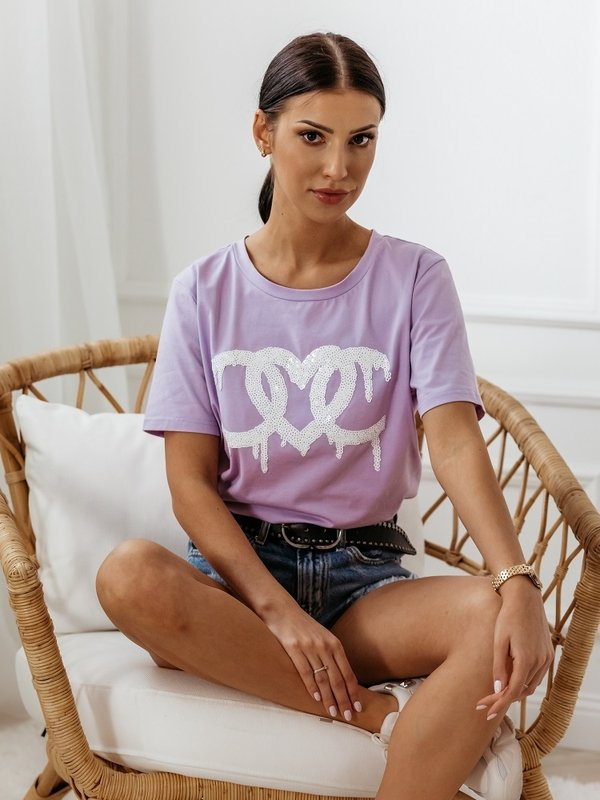 Bluzka Heart Sequins Fioletowa